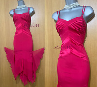KAREN MILLEN UK 14 Pink Silk Mermaid Style Ball Gown Prom Cocktail Midi Dress