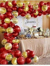 Nebee Red Gold Balloons Arch Kit, Red, Gold And Gold Confetti Balloons For Birth