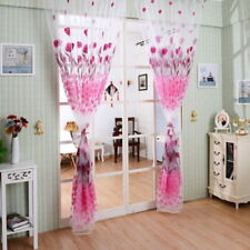 Door Window Curtain Floral Tulle Voile Romantic Drape Panel Sheer Scarf Valances