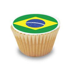 15 x Brazil / Brazilian Flag - Pre Cut Cupcake Toppers Premium Sugar Icing Sheet