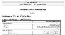 Kia Carnival Sedona LX 2010 -2013 Service Repair Manual