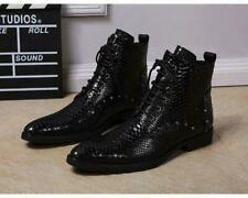 Mens Leather Dress Shoes Lace Up Ankle Boots Motocycle Gothic British Black New