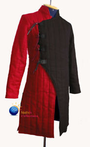 Medieval Thick Padded Full Length Sleeves Aketon Jacket Gambeson Costume