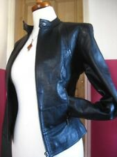 Ladies NEXT Black Leather Biker Style Cafe Racer Jacket coat size UK 10 8