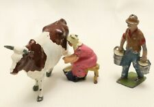MILKING THE COW ENGLAND AND FRANCE TOYS:  WOMAN/ MAN FARMERS & COW