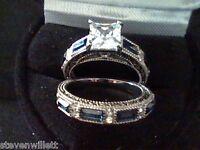 SAPPHIRE & LCS DIAMOND WEDDING ENGAGEMENT RING SET sz 6 SZ 7 SZ 8 SZ 9 SZ 10