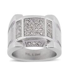 White Austrian Crystal Men's Unisex Ring in 316L Stainless Steel  #8