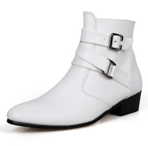 Mens Shoes Leather Ankle Boots Buckle Flat Slip-on Trendy British Style Business