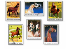 KASBEN9614 HORSES 6 STAMPS CANCELED BENIN 1996