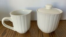 """Retroneu """"Lets Eat"""" Creamer and Sugar Bowl With Lid China Dinnerware Shell White"""
