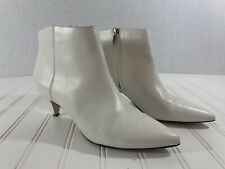 Circus By Sam Edelman Womens Size 8 White Leather Low Heel Ankle Boots