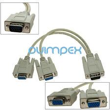J14 VGA Distributor 1 to 2 Adapter VGA Monitor Splitter Cable Y splitter 15 Pin