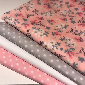 Rose & Hubble 100% Cotton Fabrics 4 piece FAT QUARTER bundle Pink & Grey AM 19