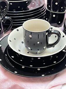 "TempTations by Tara Black Polka Dot 4 piece setting 10.5"" 8.5"" plates Mug bowl"