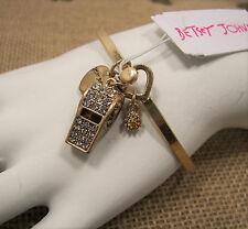 Betsey Johnson Wanderlust Crystal Whistle Gold Tone Bangle Bracelet MSRP $38