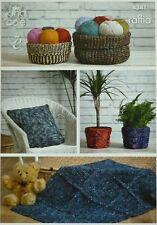 KNITTING PATTERN Storage Baskets Plant Covers Cushion Cover Rug Raffia KC 4341