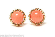 9ct Gold Coral stud earrings Made in UK Gift Boxed