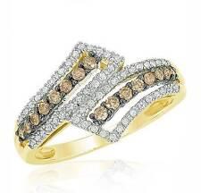Chocolate Brown & White Diamond Ring 10K Yellow Gold diamond Bypass Band .50ct