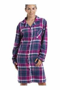 Camille Womens Stylish Checkered Long Sleeve Button Front Wincy Nightshirt