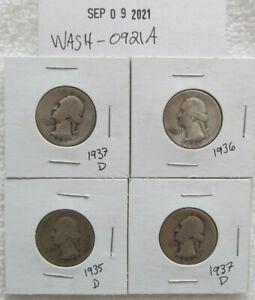 Washington Silver Quarters lot of 4 1935 D 1936 1937 D US silver coins mixed lot