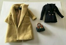BARBIE RALPH LAUREN CAMEL COAT, NAVY BLAZER JACKET PURSE HANDBAG 3 pc