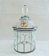 Vintage Czechoslovakia Hand Painted Vanity Jar