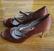 Boden Ladies Cordelia Copper Satin Heel Shoes Leather UK 7.5 EU 41 BRAND NEW