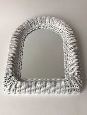 "Arched wall mirror white 16""H wicker frame no faults"