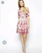 BNWT ASOS Skater Dress In Pink With All Over Beading Embellishment e19f1042e