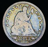 1853 Seated Liberty Quarter 25C RAYS ARROWS Toned Good 90% Silver US Coin CC6378