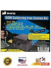 Rhino 60w Smd Rework Soldering Iron Station Tips Tweezer Solder Welding Tool