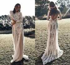 Vintage Lace Boho Beach Wedding Dress Long Sleeve Backless Bridal Gown Size 4 6+