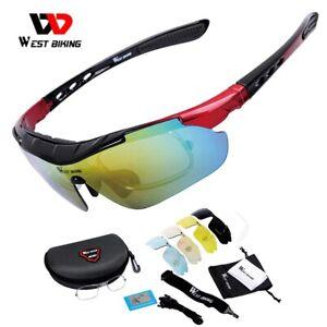 WEST BIKIN Cycling Polarized Sunglasses Full Frame 5 Lenses Men Women Sport