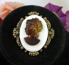 GLASS CAMEO Brown on White BROOCH Vintage Oval Pin PENDANT Dark Goldtone Heavy!