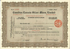 Canadian Lorrain Silver Mines Limited Share Certificate Nov 23rd 1926 - S078