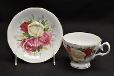 Queen Anne Large Pink & White Roses Cup & Saucer
