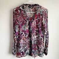 Lucky Brand Floral Semisheer Lace Up Front Long Sleeve Blouse Size Small