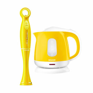 Sencor Stick Blender with 17 oz Beaker and Small Electric Kettle Bundle Yellow