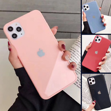 Genuine REAL GLASS Case for iPhone 11 PRO MAX X XR XS 8 7 Liquid Cover SILICONE