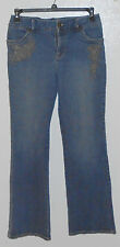 Annex Casual Corner Women's Denim Jeans Stretch Flared Size 8 Beaded embroidery