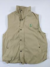 Nikken Magnetic Therapy Vest Khaki Tan Lined Insulated Full Zip Snap Mens Large