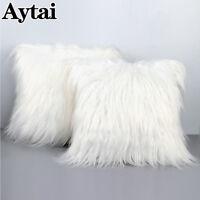 """18"""" Luxury Shaggy Faux Fur Pillow Cases Fluffy Plush Throw Sofa Cushion Cover"""