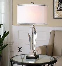 Geometric Cut Crystal Prism Table Lamp   Elegant White