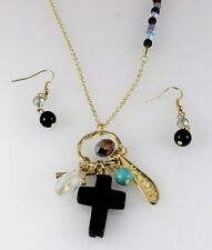 4030832 Christian Cross Necklace & Earring Set Religious Scripture Bible Jesus