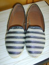 Ladies Shoes size 6 by F&F summer flats blue sparkle stripe espadrille style