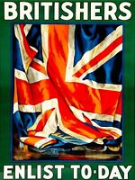 W47 Vintage WWI Britishers Enlist Today British War Poster Print WW1 A1//A2//A3//A4