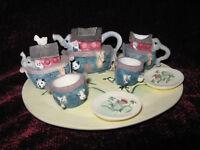 Noah's Ark Miniature Ceramic Decorative Tea Set 8 Pieces 1995 Young's Inc.