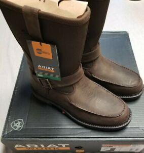 NEW men's ARIAT GROUNDBREAKER MOC TOE H20 10016254 dk brown leather Boots sz 12D