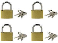 Lot de 4 cadenas en laiton à anse de 21 mm avec clés sécurité