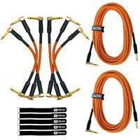 "20' 1/4"" Male Instrument Guitar Bass Amp Orange Tweed Gold Tip Cable & Patch Pk"